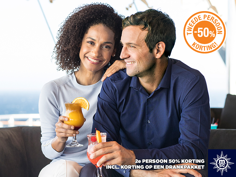 MSC Cruises 2e persoon 50% korting t/m 14 februari 2019