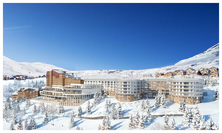 De zon schijnt in Alpe d'Huez